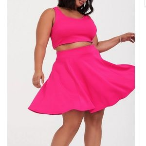 Dresses - Designer Pink crop top and skirt 2 piece set